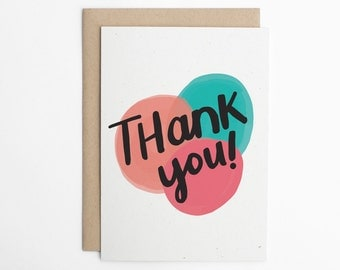 Thank You Card, Simple Thank You, Colorful Thank You, Just Because Card, Card for Friend/C-237