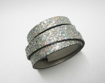 10mm Flat leather cord 10x2mm Silver Neon glitter leather cord - 1meter