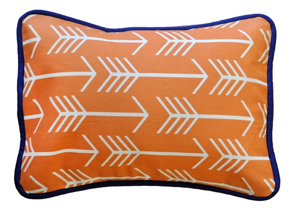 Orange And Navy Arrow Nursery Pillow Out And By Newarrivalsinc