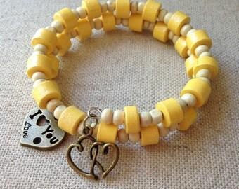 Yellow Bracelet, Paper Bead Bracelet, Memory wire bracelet, OOAK jewelry, Chic bracelet