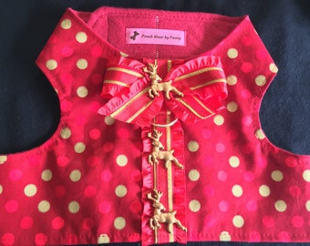 Dog Harness, Size Large, Reindeer and Polka Dots