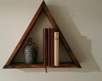 Large wooden triangle shelf