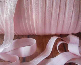 Light Pink Fold Over Elastic - FOE - 5/8 Fold Over Elastic -Headband elastic, satin elastic, wholesale elastic