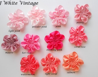 "56 color to choose, 2"" Satin Cluster Flower,  Baby Accessory Embellishment, Fabric Flower, Headband Flower, Rosette, Wholesale Supply"