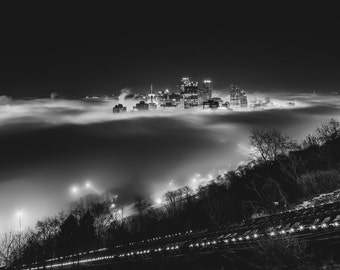 The fog in Pittsburgh from Mt. Washington in black and white - Kodak Print