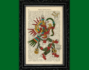 Mayan Kukulcan Art Print Mexican God Traditional Poster Book Art Dorm Room Print Gift Wall Poster Dictionary Antique Book Page Encyclopedi