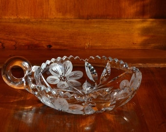 Lead Crystal Candy Dish/Ashtray with Handle