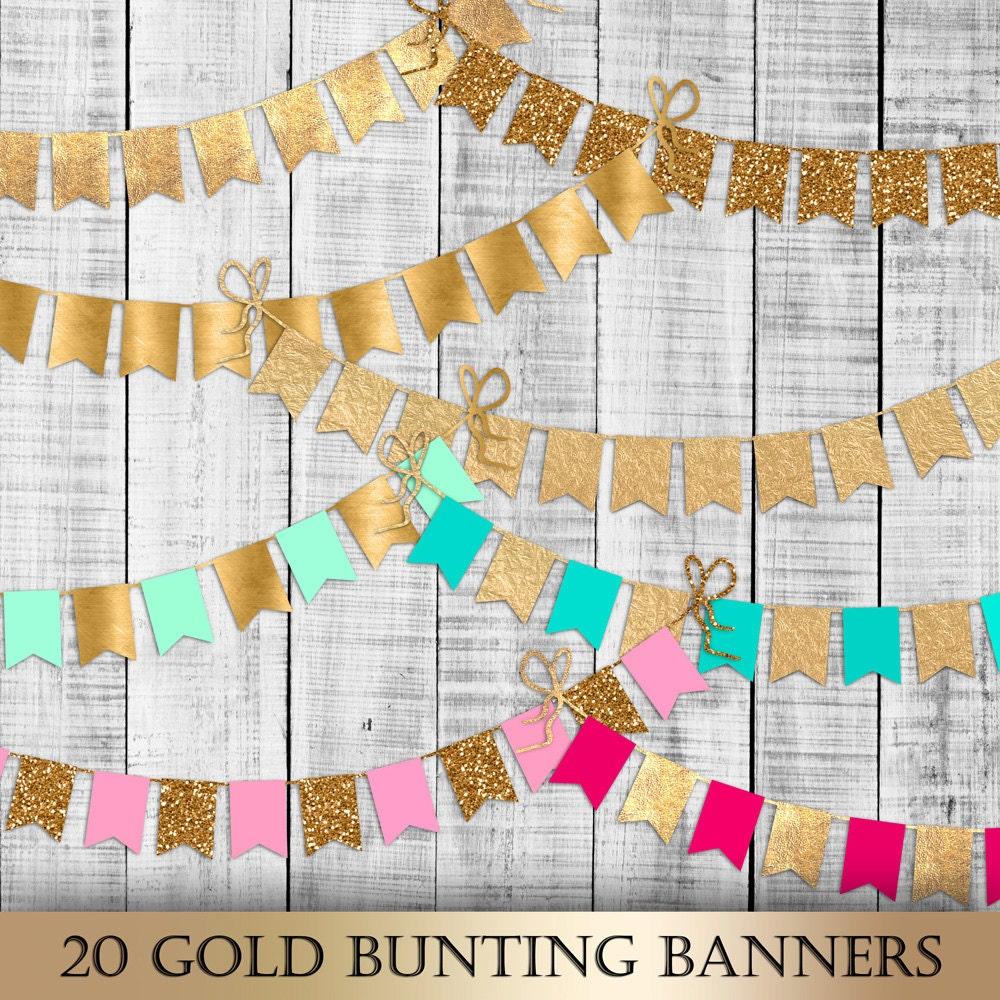 Gold Bunting Banner Digital Clip Art gold foil glitter