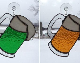 Handmade Stained Glass Mug of Beer Suncatcher