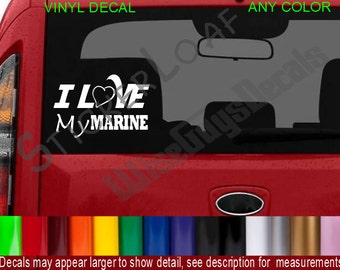 I Love My MARINE usmc Decal sticker Decals US Military Hero Veteran usa America Marines car truck stickers