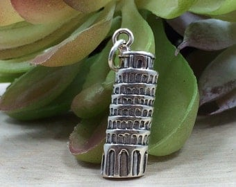 Leaning Tower of Pisa Charm, Leaning Tower of Pisa Pendant, Italy Charm, Sterling Silver Charm, Sterling Silver Pendant