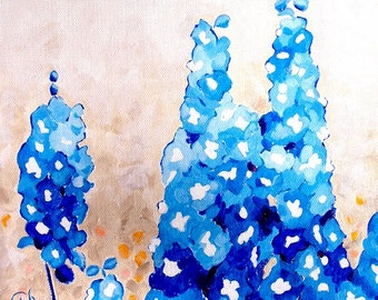 "Delphinium Steeples Blue Flower Original Botanical Painting Acrylic on Canvas 10""x10"""
