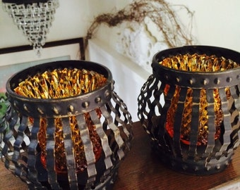 Gothic Candle Holders, Amber Sconces in Black Metal Candle Holders
