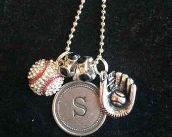 Baseball necklace with Initial