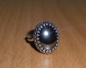 925 Antique Sterling Silver Hematite Ring - Free Ring Size