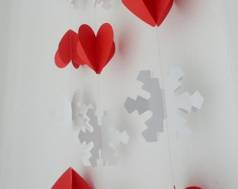 Winter wedding decoration, Christmas decoration, 3 D White Snowflake and red hearts garland
