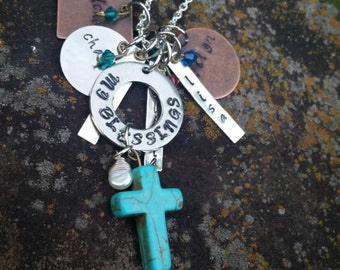 """Handstamped """"My Blessing"""" necklace for moms/grandmothers with kids names"""