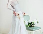 Silk A-Line Wedding Dress. French Lace. Long Sleeve Wedding Dress. Light, Airy and Romantic Wedding Dress. Free shipping.