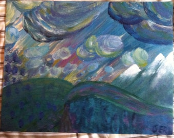 impressionistic landscape in acrylic on canvas panel 11x14