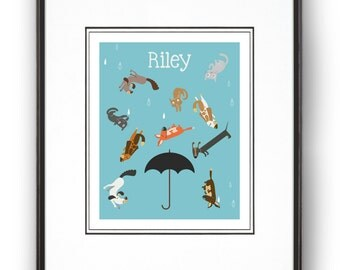 Raining Cats and Dogs Personalized Art Print