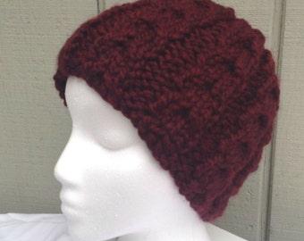 Maroon cloche hat - Womens knit hat - Chunky maroon beanie - Bulky knit cloche - Teens knit beanie
