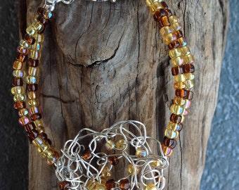 Crochet beaded bracelet, crochet jewelry, crochet bracelet, layered bracelet, crochet wire jewelry, wirework, wire beadwork