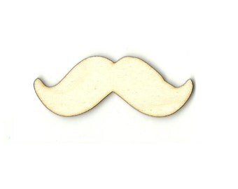 Mustache - Laser Cut Out Unfinished Wood Shape Craft Supply PPL1