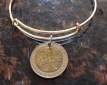 Colombia 500 pesos tree expandable style wire bangle bracelet bi metal