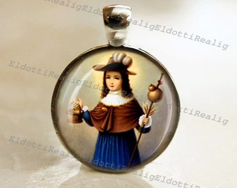 Santo Niño de Atocha / Holy Child of Atocha Catholic Religious Medal Pendant / Charm Cabochon with Glass Dome
