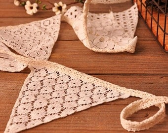 White Lace Handmade Vintage Triangle Flag Bunting Banner - 10 flags