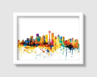 Seattle Skyline, Digital Watercolor Art Print, Modern Home Decor ,No,335