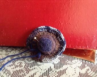 Handmade Blue Brown Crocheted Pin Cushion