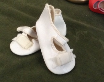 Vintage Large Leather White Doll Shoes