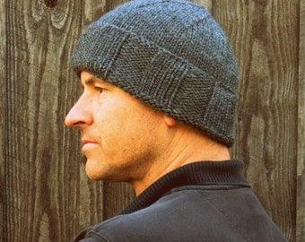 Knit hat mens, wool hat, grey seamans skull cap, mariners hat, Lambs Ears Knitting