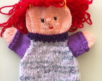puppet little girl, handmade, knitted girl with long hair, handdoll girl