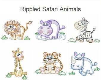 Rippled Safari Animals Machine Embroidery Designs Instant Download 4x4 5x5 6x6 hoop 10 designs APE2110