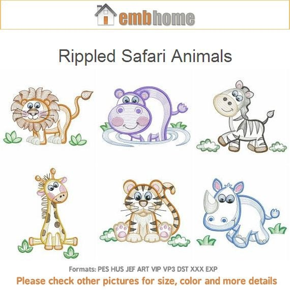 Rippled safari animals machine embroidery designs instant