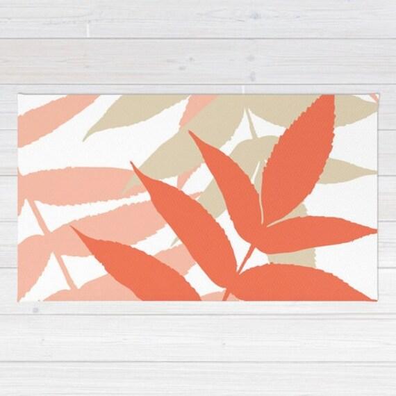 Area Rug Fern Rug Coral Peach Tan Area Rug Modern Leaf Rug