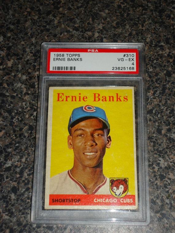 1958 topps ernie banks baseball card psa 4 vg ex chicago cubs. Black Bedroom Furniture Sets. Home Design Ideas
