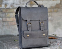 Genuine leather backpack. Model P005. 100% Hand-made.