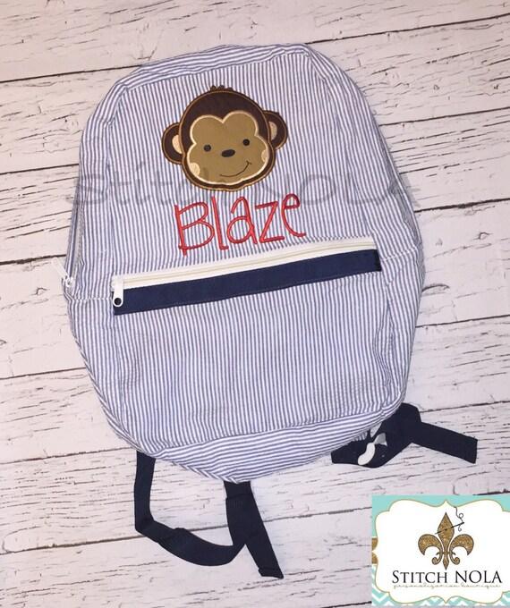 Seersucker Backpack with Monkey, Seersucker Diaper Bag, Seersucker School Bag, Seersucker Bag, Diaper Bag, School Bag, Book Bag, Backpack