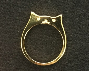 Cute Handmade Cat Ring Gold Plated Sterling Silver .925 Size 6 & 7 New