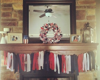 Patriotic Red White And Blue Rag Garland