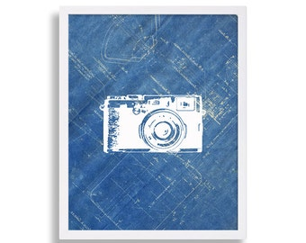 Camera Art Print Gift for Photographer Blueprint Art Home Decor Wall Hanging Cool Prints Blue and White Prints Vintage Camera Art Print