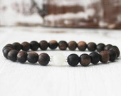 Nature Healing Bracelet, Moonstone Bracelet, Intention Bracelet, Ebony Wood Bracelet Yoga Beads Wrist Mala for Calming and Stress Relief