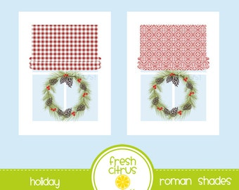 Window Clip Art Roman Shades Red and White
