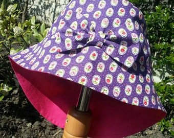 Girls Baby Cotton Sun Summer Holiday Hat - Legionaire Style  - Purple Flowers