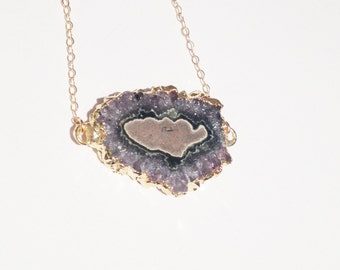 SALE  (was 48.00):  18kt Gold Dipped Amethyst Stalactite Tarnish Resistant Necklace