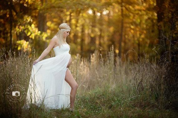 EMMA Maternity Gown, Chiffon Dress, Maxi Dress, Front Split, Maternity Dress, Sheer Dress, Flowy Dress