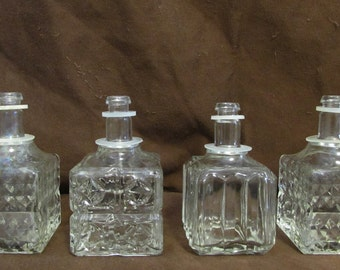 Perfume Bottles, DimeStore, Set of Four, Square, Vinatge, 1960's - 1970's